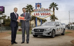 Mercedes-Benz R&D chief Thomas Weber gets the license for an E-Class that will be tested as an autonomous vehicle in Nevada.